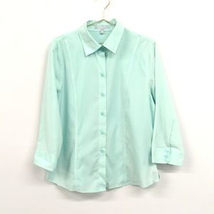 Foxcroft 3/4 Sleeve Button Up Collared Top Size 16